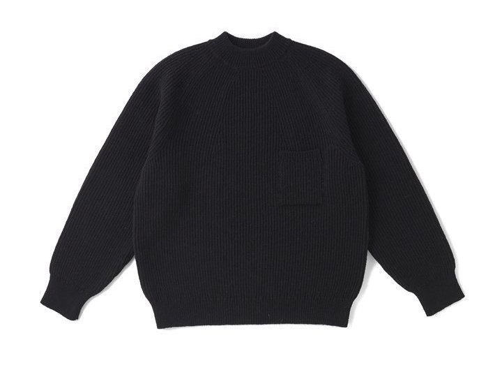 TWEEDY YARN MOCK-NECK SWEATER(BLACK)