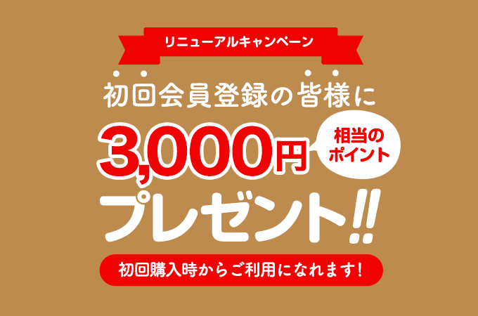 3000ポイントプレゼント