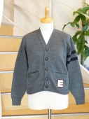 SALE30%of EASY KNITイージーニット  KIDS CARDIGAN W/LIFT SLEEVE STRIPED W/BUTTONS AND POCKETS WITH EMBLEM